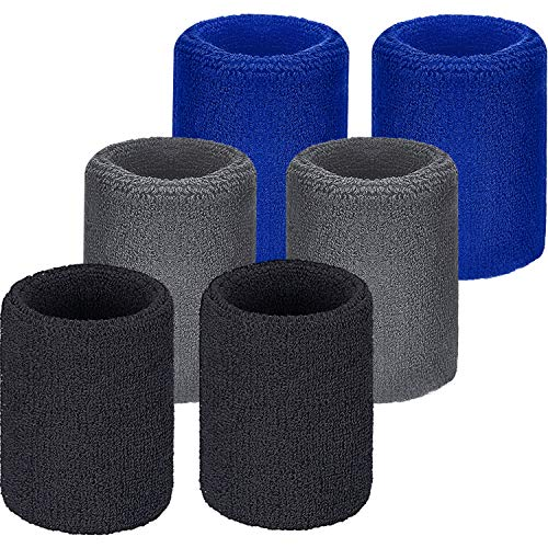 WILLBOND 6 Pieces Wrist Sweatbands Sports Wristbands for Football Basketball, Running Athletic Sports (Black, Blue, Gray)