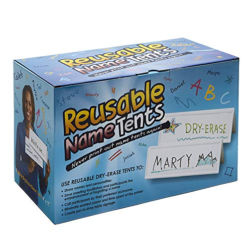 """Set of 12 Reusable Name Cards - WHITE, dry-erase tent, LARGE 11"""" x 4"""""""