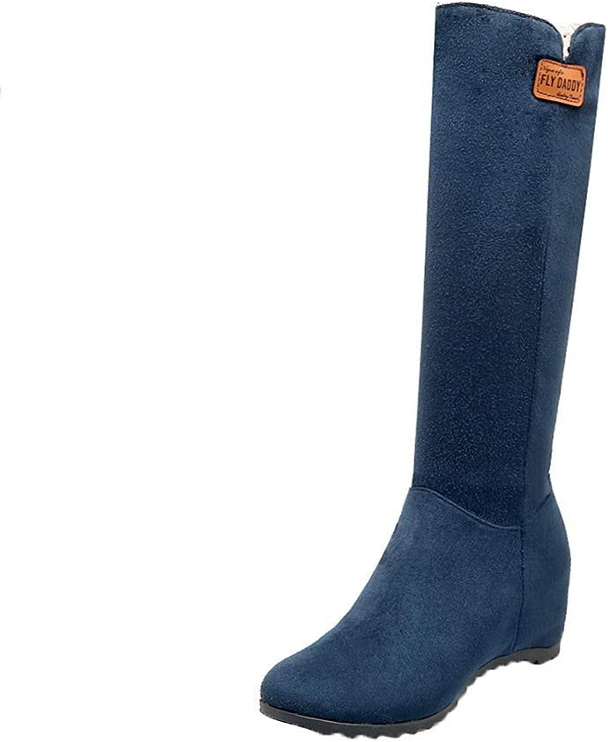 WeenFashion Women's Pull-On Round-Toe Kitten-Heels Frosted Mid-Calf Boots, AMGXX130109