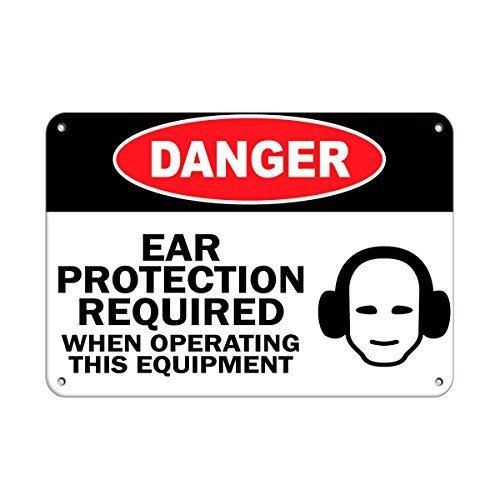 None Brand Personalisierte Metallschilder Gefahr Gehörschutz erforderlich beim Betrieb von Geräten Aluminium