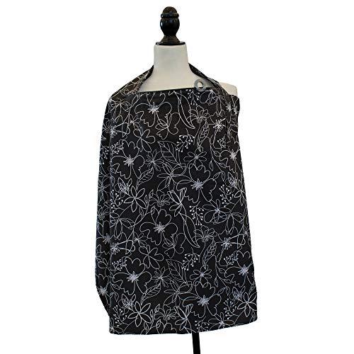 Boppy Nursing Cover for Breastfeeding, Black and White Floral Scribbles