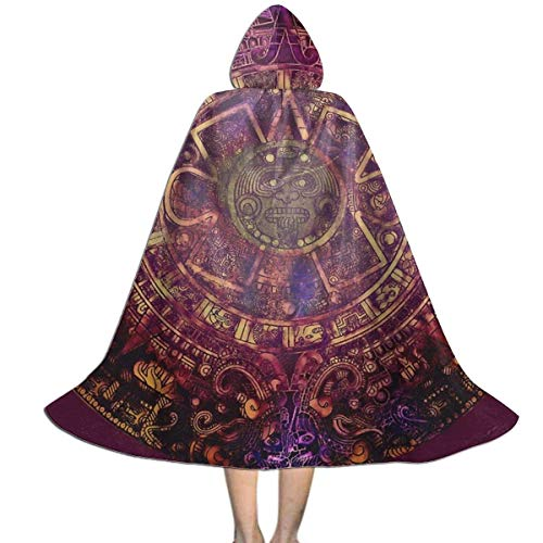 Kid Cape Cloak Hood Mandala Calendario Azteca Nativo Americano Maya Luck Halloween
