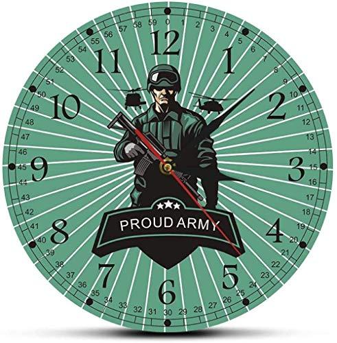 AZHOULIULIU Co.,ltd Reloj de Pared Soldado Marino con Rifle decorando Hombre Cueva Reloj de Pared Orgulloso ejército Listo para la Guerra Arma Militar decoración de Pared Reloj de Pared 30cm X 30cm