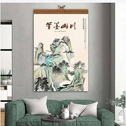 OUMIFA Academic Year Standing Desk Calendar with to Do Li 2022 Chinese Landscape Painting Wall Calendar Home Wall Hanging Rice Paper Hanging Scroll Monthly Calendar Freestanding Academic Calendar