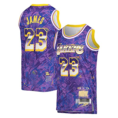 YPKL Lebron James Basketball Jersey para Hombres, Mamba Purple Mamba Lakers 23# Swingman Ballball Jerseys, Retro Unisex Swingman T-Shirt Top Top (S-2XL) S