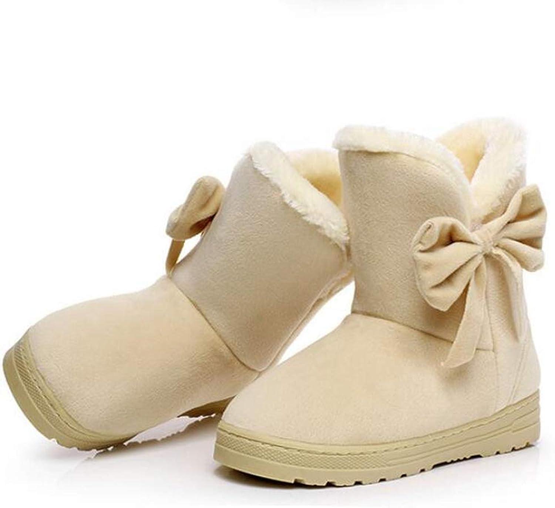 Winter Boots Thicken Women Ankle Snow Boots Bowknot Fur Velvet Warm Cotton Boots Round Toe Short shoes