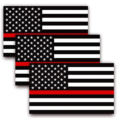 ANLEY 5 X 3 inch dunne rode lijn Amerikaanse vlag sticker - zwart witte en rode reflecterende streep Amerikaanse vlag auto stickers - ondersteuning brandweerlieden en EMT's (3 Pack)