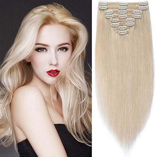 SEGO Extension Clip Capelli Veri 50cm - Double Weft Volumizzante 100% Remy Human Hair Naturali Lisci 8 Fasce 150g Colore #60 Biondo Platino