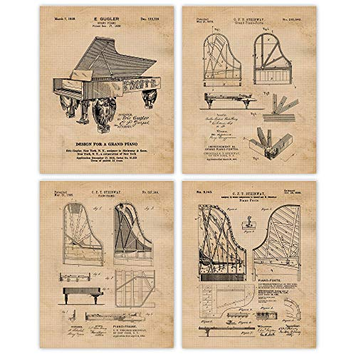 Vintage Steinway Piano Patent Prints, Set of 4 (8x10) Unframed Photos, Wall Art Decor Gifts Under 20 for Home, Office, Garage, Man Cave, Lounge, Lobby, School, College Student, Teacher, Music Fan
