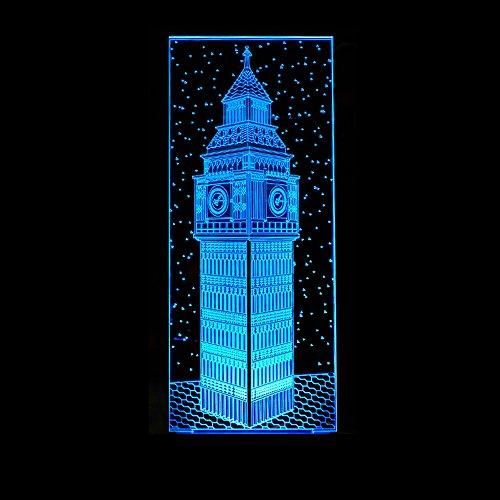 Big Ben Styling 3D-lamp bedlampje, nachtlampje voor de kinderkamer, led-lamp voor de woonkamer