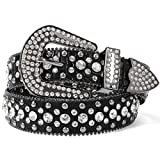Fashion Rhinestone Belt for Women for Jeans, Western Cowgirl Studded Leather Belt, Ladies Bling Rhinestone Belt, Bling Rhinestone Belt for Women Cowgirl, Black Rhinestone Belt, Fit Pants Size 29'-33'