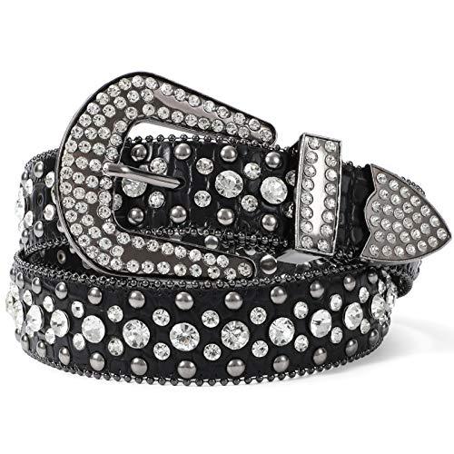 LEACOOLKEY Strass Gürtel für Damen für Jeans, Western Cowgirl Nieten Ledergürtel, Damen Schwarzer Punk Strass Gürtel, Fit Hosengröße 73cm-83cm