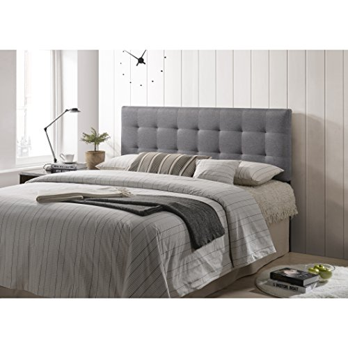POLY & BARK Guilia Square-Stitched Headboard, Queen Size, Gray