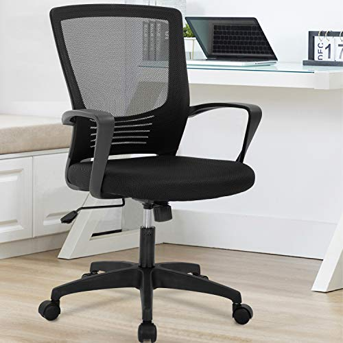 OffiClever Ergonomic Desk Swivel Rolling Computer Executive Lumbar Support Task Mesh Metal Base for Home&Office, Black
