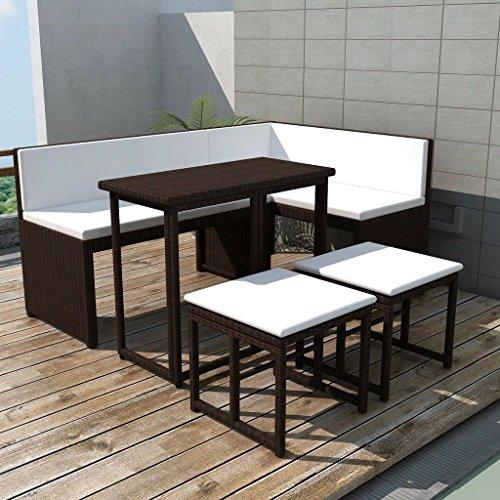 Tidyard Conjunto Muebles de Jardín de Ratán 12 Piezas con Mesa Plegable y Cojines con Correa de Fijación,Sofa Exterior para Jardín Patio Terraza,Ratán Sintético Marrón
