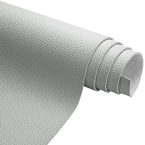 ZSYGFS Tela De Cuero Sintético De Polipiel 138 Cm De Ancho Vendido por Metro para Muebles Sofás Sillas Manualidades(Color:Gris Claro)