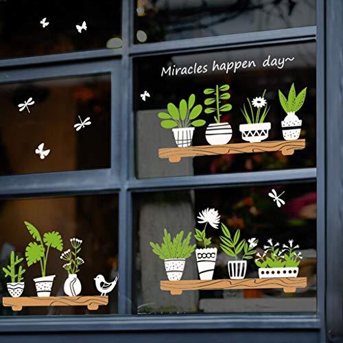 BLOUR Plant Potted Shop Glastür Cafe Dekoration Wandaufkleber süße Wandaufkleber Home Decals Zitate Wandkunst Druck