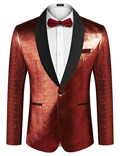 COOFANDY Men's Sequin Blazer Suit Jacket Slim Fit One Button Fashion Tuxedo Jacket for Dinner Party Wedding Prom Red