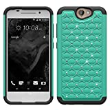 HTC ONE A9 Case, Studded Diamond Hybrid Bling Dual Layer Crystal Rhinestone Cover Silicone Rubber Skin Hard Bumper Case For HTC ONE A9 Case - Purple/Teal