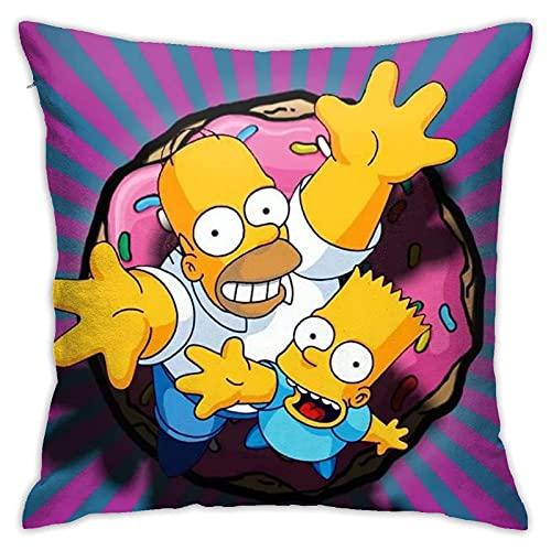 KINGAM Simpsons - Almohada de dibujos animados de anime súper suave, funda de almohada cuadrada ligera para decoración del hogar con cremallera invisible, 45,7 x 45,7 cm.
