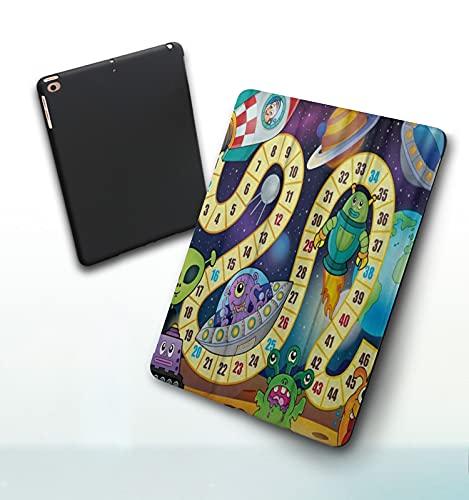Zhibaiya Funda para iPad 9,7 Pulgadas, 2018/2017 Modelo, 6ª / 5ª generación,Números Decorativos Educativos Galaxy Monsters Smart Leather Stand Cover with Auto Wake/Sleep