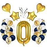 Korins Globo número 0, número gigante 0 1 2 3 4 5 6 7 8 9 Globo de papel de aluminio(100CM) globos de confeti de látex, decoración de aniversario de fiesta de cumpleaños