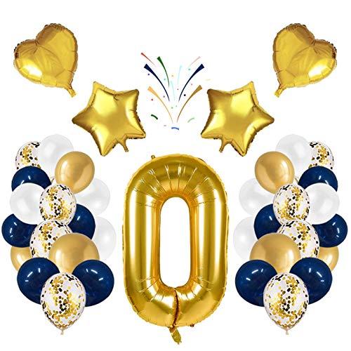 Globo número 0 Korins, número gigante 0 1 2 3 4 5 6 7 8 9 Globo de papel de aluminio con 24 globos de confeti de látex, decoración de aniversario de fiesta de cumpleaños