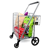 Supenice Jumbo Shopping Cart with Double Basket Grocery Cart 160 lbs Capacity Deluxe Folding Shopping Cart 360°Rolling Swivel Bearing Wheels Super Loading Utility Cart for Laundry, Grocery, Luggage