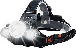 Head Torch Rechargeable - Headlamp Headlight LED Head Torch with 3 Lights 4 Modes, 6000 Lumen Head Torches LED Super Brigh...