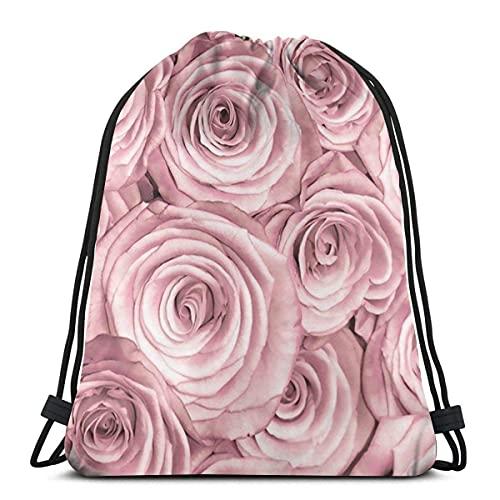 Lmtt Bolsas con cordón Mochila rosa rosa Bolsas con cuerdas de tirón Almacenamiento deportivo a granel Gimnasio para hombres Mochila de viaje impermeable como imagen Talla única