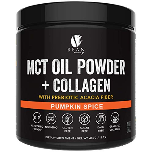 MCT Oil Powder + Collagen + Prebiotic Acacia Fiber - 100% Pure MCT's - Perfect for Keto - Energy Boost - Nutrient Absorption - Appetite Control - Healthy Gut Support - Pumpkin Spice