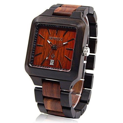 Relojes Bewell hombres de madera Natural con Plaza reloj cara Noble cuarzo relojes de pulsera para hombres W110A (negro y rojo)