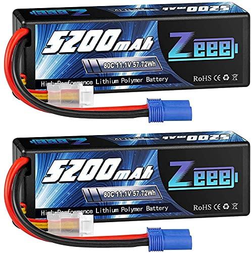 Zeee 3S lipo 11,1V 5200mAh 80C litio Batteria RC batteria Hard Case, con connectore EC5 spina, per RC Evader BX RC Veicolo Auto LKW Truggy RC Nave RC Modells RC Hobby (2 Batteria)