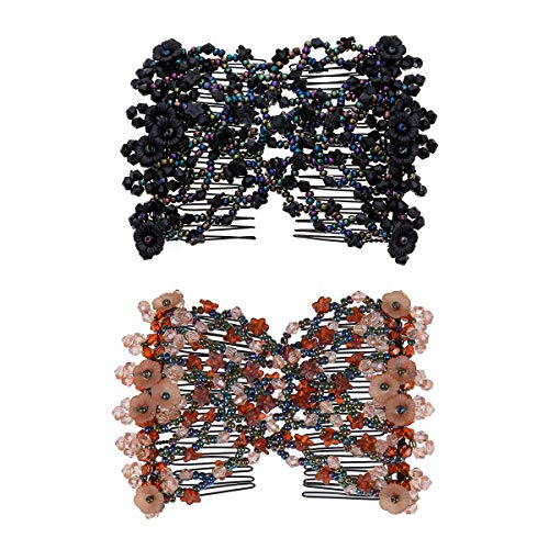 Ruihfas Casualfashion 2Pcs Handmade Beaded Easy Combsâ Stretchable Double Combs As Seen On TV - Classic Black and Retro Coffee