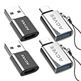 AGVEE [2 Pack] Zinc USB-C Male to USB-A 3.0 Female OTG Adapter & [2 Pack] USBC Female to USB-A 2.0 Male Converter, for MacBook Pro, iPad Pro 2020 Air 4, Galaxy S20 S10 Note 20 10, Pixel 2 3 4, Silver