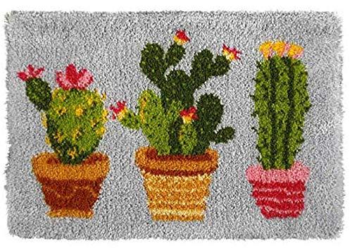 Kits de ganchos de pestillo Kits de fabricación de alfombras DIY para niños/adultos con patrón de lienzo impreso Tres macetas cactus 50x37.5cm