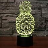 Ananas Comosus 3D Illusion Lampe Nachtlicht mit 7 Farben Flashing & Touch-Schalter USB Powered,...