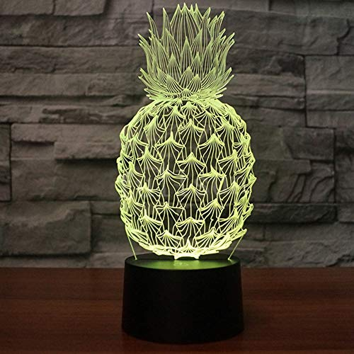 Ananas Comosus 3D Illusion Lampe Nachtlicht mit 7 Farben Flashing & Touch-Schalter USB Powered, Schlafzimmer Schreibtischlampe für Kids'Gifts Home Dekoration
