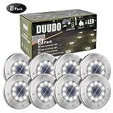 DUUDO Solar Ground Light, Upgraded 10 LED Garden Pathway Outdoor Waterproof Solar Garden Lights, Disk Lights (Cold White, 8 Packs)