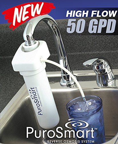 PuroSmart High Flow RO System Home Water Treatment System | Compact RO System Mounts Directly onto Faucet | Great for Apartments & Rentals | Applied Membranes PSFM50 (Faucet Mount RO System)…