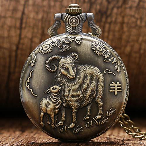 FHLKP Vintage Bronze Ziege Quarz Taschenuhr mit Halskette Kette Geschenk