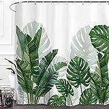 Baccessor Grünes Blatt Duschvorhang frische Palme Bananenblätter Tropische Palmen Muster Badezimmer Dekoration Badvorhang Dekor mit Haken 183 x 183 cm