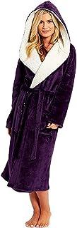 LRWEY Women Bathrobe Winter Hooded Lengthened Plush Shawl