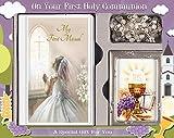 Set de regalo de primera comunión C5188 para niña, con misal, rosario y marco de fotos de 9 x 6 cm. Ideal como regalo