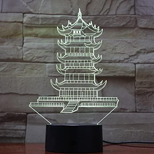Lámpara De Torre De Luz Nocturna 3D Pagoda Leifeng Led 7 Colores Que Cambian El Interruptor Táctil Lámpara De Escritorio Juguetes Deco De Oficina 1pc