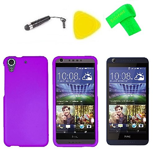 Hard Phone Cover Case Cell Phone Accessory + LCD Screen Protector Guard + Extreme Band + Stylus Pen + Yellow Pry Tool For HTC Desire 626S 626 626G+ 4G LTE (Purple)