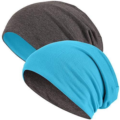Hatstar Slouch Long Beanie 2in1 Reversible Jersey Mütze in 44 Farben (dunkelgrau/türkis)