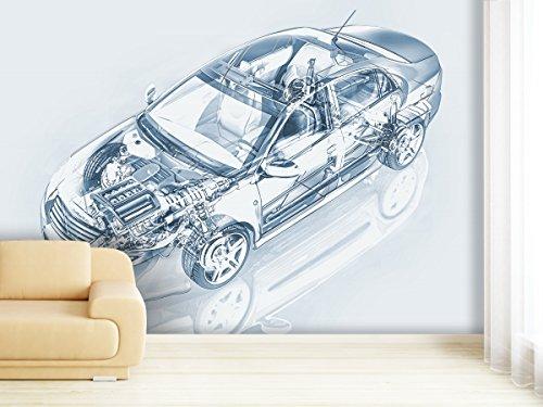 Fotobehang, transparant, auto, in verschillende afmetingen, naar keuze als papier of vliesbehang 280x180cm