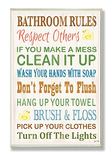 Stupell Industries Rules Typography Rubber Ducky Bathroom Art Wall Plaque, 13 x 19, Design by Artist Janet White