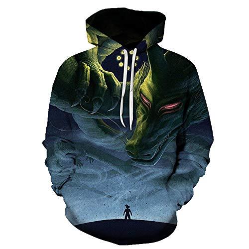 Hoodie-Flammentier der Strickjacke des Druckpaares 3D mit Kapuze L Unisex Pullover Langarm 3D Druckmuster Hoodies Fashion Outwear L